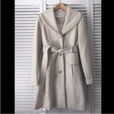 Jessica Simpson Pea Coat Beautiful long cream pea coat with gold accents. Jessica Simpson Jackets & Coats Pea Coats