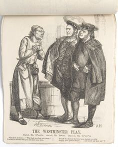 Print, engraving, 'The Westminster Play' - Benjamin Disraeli, 1st Earl of Beaconsfield (1804-1881) as Shylock, John Bright MP (1811-1889) Antonio and The Rt Hon. William Ewart Gladstone MP (1809-1898) as Bassanio (The Merchant of Venice by William Shakespeare) by Dalziel Brothers. Newspaper cutting of a political cartoon (1867).