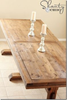 Beautiful Farmhouse table- plans, tips and pictures! Van Orman - this is the stain I'm liking lately I wi build this table Pine Dining Table, Dining Room Table, Outdoor Dining, Dining Area, Wood Tables, Kitchen Tables, Outdoor Spaces, Farmhouse Table Plans, Rustic Farmhouse