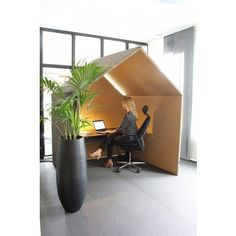 The Hut Is A Space Away From Busy Office Quiet To Concentrate Or Work Acoustic Huts Simple Form And Size Also Allows For Small Meetings