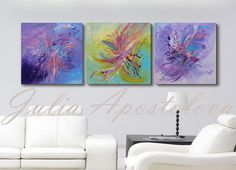Check out 60inch, Triptych, Original Painting, Huge Wall Art, Minimalist, Abstract Art, Modern, Purple Abstract, Green Painting, Turquoise painting on juliaapostolova
