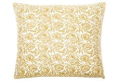 Vine 24x24 Cotton Pillow, Yellow