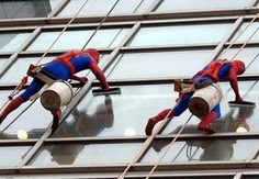 At a children's hospital in London, window washers have a clause in their contract requiring them to wear super hero costumes. They report it to be the highlight of their week. Awesome!!!!!!