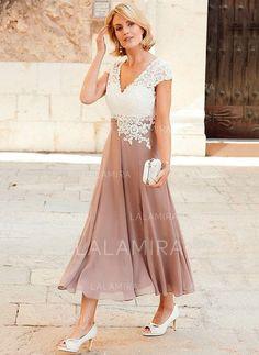 A-Line/Princess V-neck Tea-Length Chiffon Lace Mother of the Bride Dress (008146292) - Mother of the Bride Dresses - lalamira