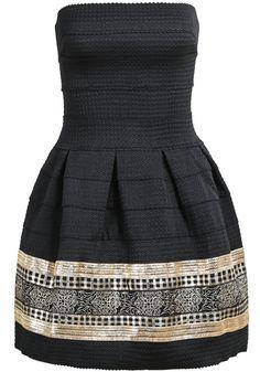 Vestido plisado bordado-negro y dorado 23.40