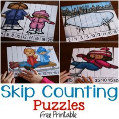 Free skip counting puzzles for winter! Part of the 31 Days of Free Printables for Hands-on Learning! Skip Counting Activities, Counting Puzzles, Interactive Activities, Math Activities, Winter Activities, Preschool Worksheets, Educational Activities, Math Games, Preschool Activities