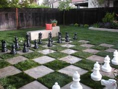 outdoor chess- I am picturing different flower pots/planters for the different pieces. Fun and beautiful.