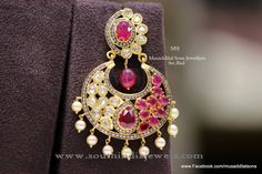 22K Gold Ruby Chandbali Earrings, Ruby Chandbali Designs, Gold Chandbali Models.
