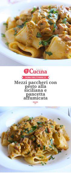 Mezzi paccheri con pesto alla siciliana e pancetta affumicata