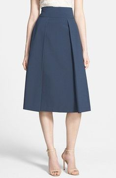 love this navy pleated a-line midi-skirt