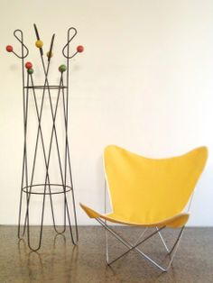 Angelucci 20th Century Butterfly chair with 1950s Porte Manteau