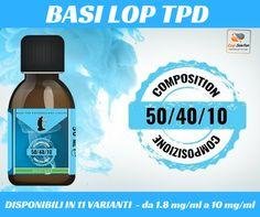 Basi LOP 50/40/10, TPD Ready! Scegli il tuo kit qui! http://www.ecigsolution.it/home/1431-tpd-basi-lop-100ml-504010.html