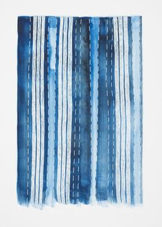 "Spirit Cloth, Ink and Gouache on Paper, 42 cm x 29.7 cm.  Inspired by Indigo cloth and the book ""Indigo"" by Catherine McFinlay."