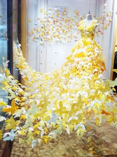 Beautiful paper butterfly dress in this Anthropologie window display