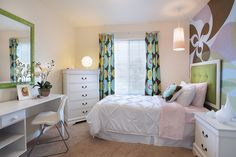 This would be a beautiful spare bedroom & most is stuff that can be done DIY-The upholstered headboard is a rather easy DIY project-So is the duvet cover-It can b done as a knock-off of the West Elm ones! If you're on an especially tight budget, furniture can b picked up, sanded & painted-& the mural-of course-is GORG! & can b done w/whatever colors u want 2 match the room! Mirrors can usually b picked up relatively inexpensively & repainted-& drape options r many-use sheets, or fabric & sew…