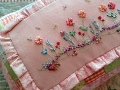Silk Ribbon Embroidery Pillow Pink Patchwork Finished Needlework