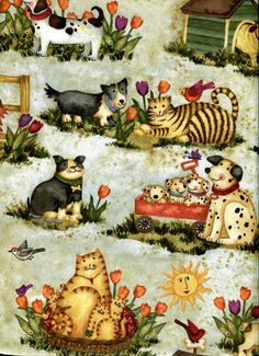 Pals at Play Dogs and Cats SPX Fabric 1 yard by BywaterFabric