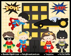 Psd Super Hero Templates Superhero Templates  by ResellerClipArt, $7.00