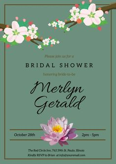 Customize this design with your video, photos and text. Easy to use online tools with thousands of stock photos, clipart and effects. Free downloads, great for printing and sharing online. A5. Tags: bridal shower, invitation, wedding, Event Flyers, Wedding , Wedding