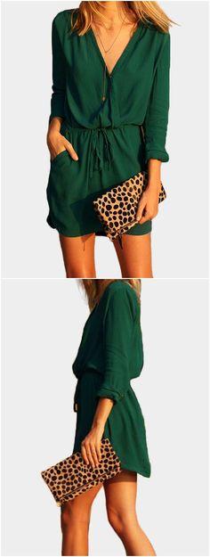Green V-neck Drawstring Waist 3/4 Length Sleeves Dress