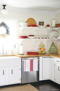 "My ""REAL"" Christmas Home Tour {aka: pictures you probably shouldn't see} - Beneath My Heart Home Decor Kitchen, Kitchen Dining, Kitchen Ideas, Beautiful Kitchens, Cool Kitchens, Shaker Kitchen Cabinets, White Cabinets, Christmas Home, Christmas Kitchen"