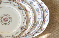 Vintage Mismatched Dinner Plates Set of 4 by RosebudsOriginals