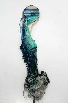 Ana Teresa Barboza creates embroidered natural landscapes that spill out of of their wooden frames, using threads of various size, color and length to invade our world.