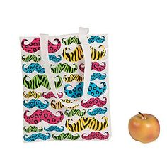 These Animal Print Mustache Totes are a wild way to tote a few of your favorite things! Featuring bright mustaches with zebra and cheetah prints, thes. Party In A Box, Party Kit, Party Shop, Girls Sleepover Party, Slumber Parties, Moustache Party, Mustache, Party Giveaways, Party Gift Bags