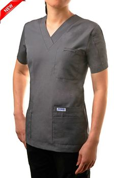 520T Charcoal -V-Neck Solid Scrub Top -  This classic solid color v-neck scrub top is great for those who need to carry as many accessories as possible. A total of 6 front pockets, 5 in front and 1 shoulder pen pocket offer a home for everything you need to carry throughout the day.  Poly/Cotton 65/35 Medical Scrubs, Scrub Tops, Chef Jackets, Charcoal, Long Sleeve Tees, V Neck, Pockets, Shoulder, Classic
