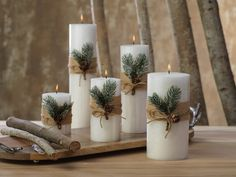 Siberian Fir Fragranced Pillar Candles The Effective Pictures We Offer You About DIY Candles no wax A quality picture can tell you many things. You can find the mo Christmas Decorations For The Home, Farmhouse Christmas Decor, Christmas Candles, Xmas Decorations, Christmas Centerpieces With Candles, Christmas Table Centerpieces, Decoration Table, Simple Christmas, Christmas Home