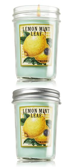 Lemon Mint Leaf -- A refreshing mix of freshly cut lemon balm and spearmint blended with soothing vetiver and zesty citrus.  #BBWSpringHome -- by Bath and Body Works