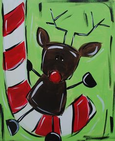 Candy cane & reindeer painting on canvas. Christmas Art Projects, Winter Art Projects, Christmas Canvas, Christmas Paintings, Christmas Crafts, Christmas Rugs, Snowman Crafts, Kid Crafts, Christmas Ideas