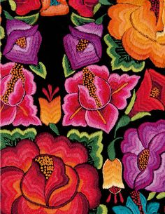Amazing colours of Oaxaca embroidery Mexico Style, Mexico Art, Mexican Crafts, Mexican Folk Art, Mexican Embroidery, Hand Embroidery, Mexican Costume, Mexican Party Decorations, Mexican Designs
