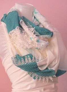 İnfinity scarf Shiffon lace scarf Boho by MissSelinAccessories