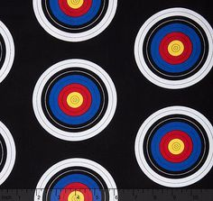 "Sports Life 3 Black Targets 100% cotton 43"" fabric by the yard 36"""