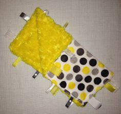 Yellow and grey minky tag blanket