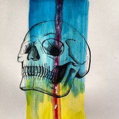 hand drawn skull with black marker and water color...