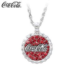 BLING!! Coca-Cola Crystal Bottle Cap Pendant Necklace With Engraving