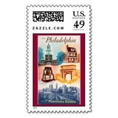 Go To Phila.on The Pennsylvania Railroad Postage Stamps-  $25.15 - Go to Philadelphia on The Pennsylvania Railroad. This colorful poster was issued by the PRR in 1952. It has the Liberty Bell, Independence Hall,The Betsy Ross house and other Landmarks in Philadelphia Pennsylvania. - Use Code: STPATDAY2014
