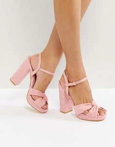 On SALE at 35% OFF! Soft Knot Front Platform Sandal by Truffle Collection. Shoes by Truffle, Faux-suede upper, Knot front, Ankle-strap fastening, Peep toe, Block high heel, Wipe witha damp clo...