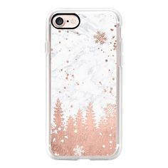 Modern rose gold foil christmas holiday winter snowlfake pine trees on... (54 CAD) ❤ liked on Polyvore featuring accessories, tech accessories, iphone case, iphone cover case, rose gold iphone case, white iphone case, iphone cases and apple iphone case