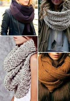 Cozy Winter Scarfs with Outfits/Love the upper right grey with popcorn stitch.