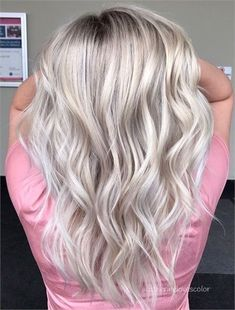 Long wavy salt and pepper ash blonde hair