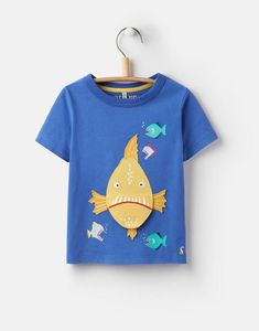 Joules US CHOMPER YoungerBoys Applique T-Shirt 1-6yr Dazzling Blue Piranha