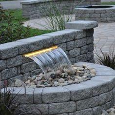Concrete block water fountain with lighting-build design ideas - All For Backyard Ideas Backyard Water Feature, Ponds Backyard, Backyard Landscaping, Backyard Waterfalls, Outdoor Water Features, Water Features In The Garden, Diy Fountain, Garden Fountains, Landscape Design