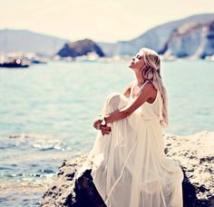 white dress at the beach