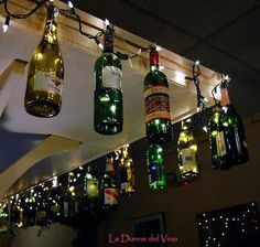 Fun outside wine bottle Christmas decorations.  Cheers to recycling.