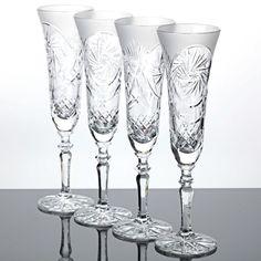 4 Sektgläser mattiertes Bleikristall Handgeschliffen Schleuderstern Vintage Glas