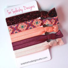 So soft hair ties that look as good on your wrist as they do in your hair! Put one on your wrist to have a stylish bracelet that you can pop in your hair whenever you need it. This collection has gorgeous colorps to get you ready for spring. Great for school, work, the gym, or an evening out. Perfect gift for girls, teens, or ladies!