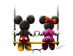 behance.net disney art | Mickey & Minnie on a swing - Disney Fan Art by Neil-Jan Que